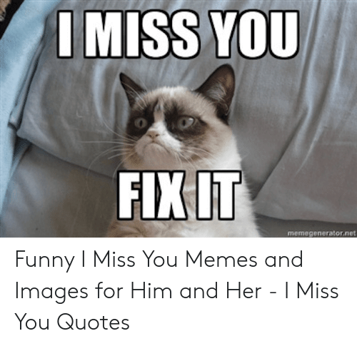 I MISS YOU FIXIT Memegeneratornet Funny I Miss You Memes and ...