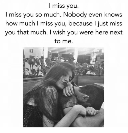 I Miss You Miss You So Much Nobody Even Knows How Much I Miss You