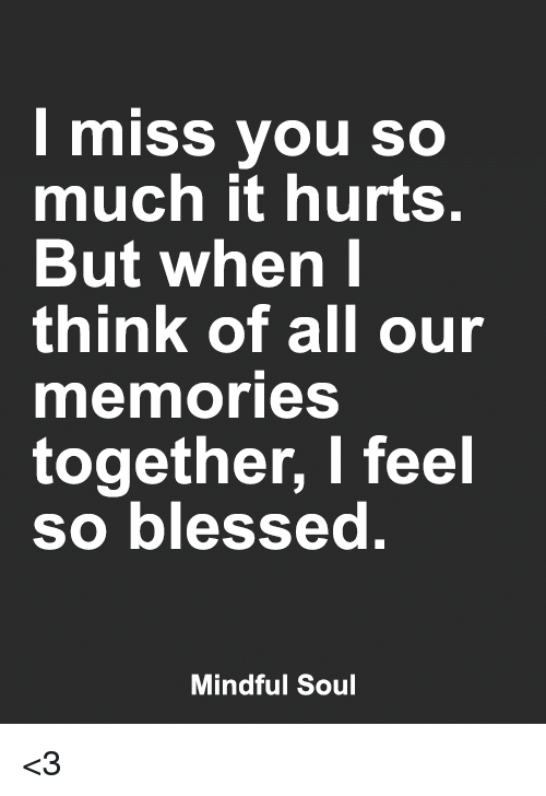I Miss You So Much It Hurts But When I Think Of All Our Mermories