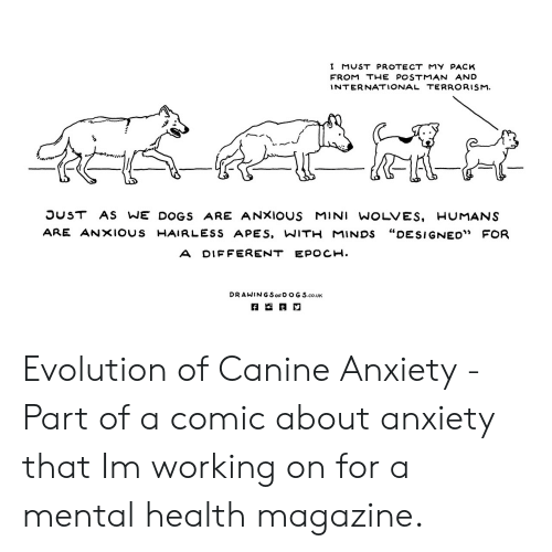 "Dogs, Anxiety, and Evolution: I MUST PROTECT MY PACK  FROM THEPOSTMAN AND  INTERNATIONAL TERRORISM  OUST AS WE DOGS ARE ANXIOUS MINI WOLVES, HUMANS  ARE ANXIOUS -AI R LESS APES, WIT-MINDS ""DESIGNED"" FOR  A DIF FERENT EPOCH.  DRAWIN G SorD OG S.co.UK Evolution of Canine Anxiety - Part of a comic about anxiety that Im working on for a mental health magazine."