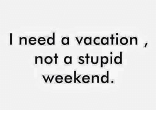 Memes, 🤖, and Weekender: I need a vacation  not a stupid  weekend
