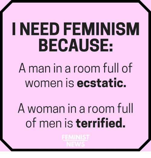 Feminism, Memes, and News: I NEED FEMINISM  BECAUSE:  A man in a room full of  women is ecstatic.  A woman in a room full  of men is terrified.  FEMINIST  NEWS