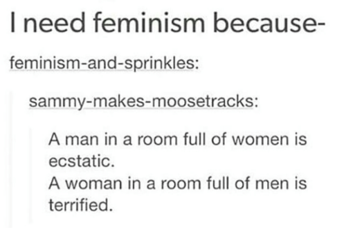 Feminism, Women, and Man: I need feminism because-  feminism-and-sprinkles:  sammy-makes-moosetrackS:  A man in a room full of women is  ecstatic  A woman in a room full of men is  terrified.