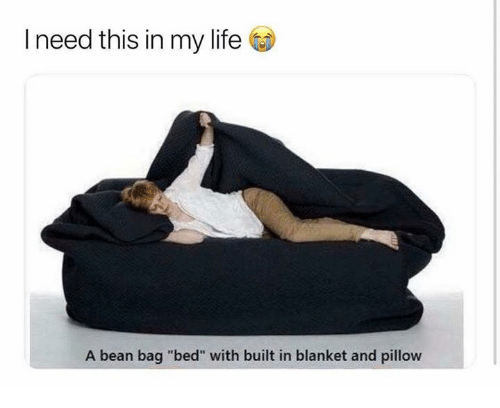 "Life, Relationships, and Bean: I need this in my life  A bean bag ""bed"" with built in blanket and pillow"
