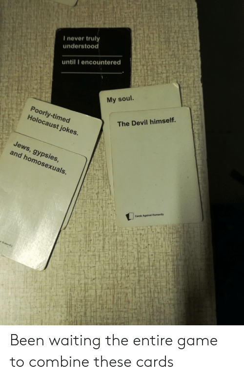 Cards Against Humanity, Devil, and Game: I never trul  understood  until I encountered  My soul.  Poorly-timed  Holocaust jokes.  The Devil himself.  Jews  and homosexuals.  , gypsies  Cards Against Humanity  lT  if Been waiting the entire game to combine these cards
