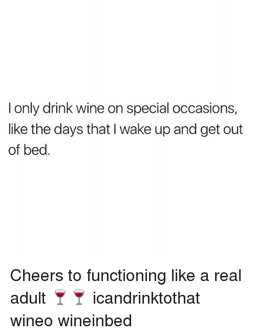 Wine, Girl Memes, and Cheers: I only drink wine on special occasions,  like the days that I wake up and get out  of bed. Cheers to functioning like a real adult 🍷🍷 icandrinktothat wineo wineinbed