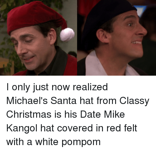 christmas the office and date i only just now realized michaels santa hat - The Office Classy Christmas