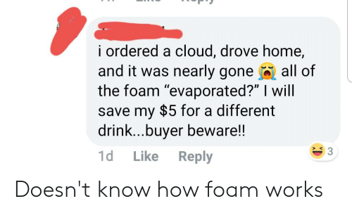 "Facepalm, Cloud, and Home: I ordered a cloud, drove home,  and it was nearly gone all of  the foam ""evaporated?"" I will  save my $5 for a different  drink...buyer beware!!  1d Like Reply  S 3 Doesn't know how foam works"