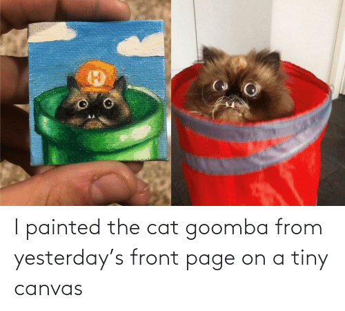 Canvas, Page, and Cat: I painted the cat goomba from yesterday's front page on a tiny canvas