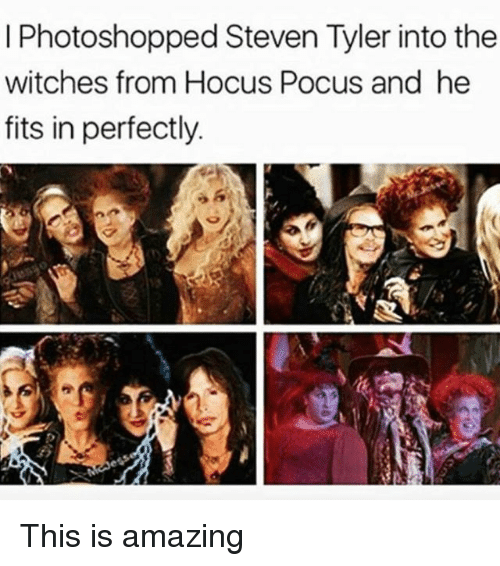 Steven Tyler, Hocus Pocus, and Girl Memes: I Photoshopped Steven Tyler into the  witches from Hocus Pocus and he  fits in perfectly. This is amazing