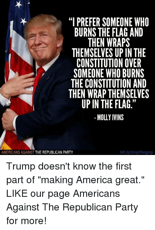 I PREFER SOMEONE WHO BURNS THE FLAG AND THEN WRAPS