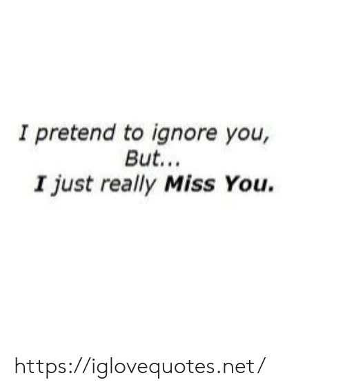 Net, You, and Miss: I pretend to ignore you,  But...  I just really Miss You. https://iglovequotes.net/