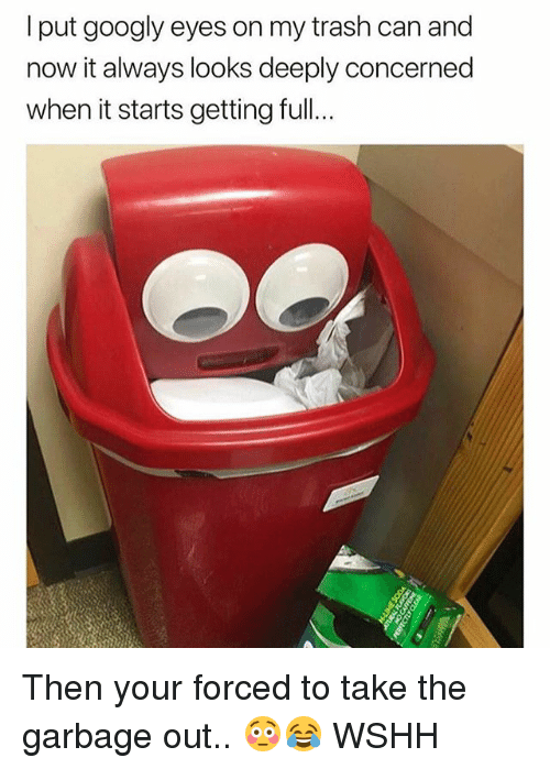 Memes, Trash, and Wshh: I put googly eyes on my trash can and  now it always looks deeply concerned  when it starts getting full Then your forced to take the garbage out.. 😳😂 WSHH