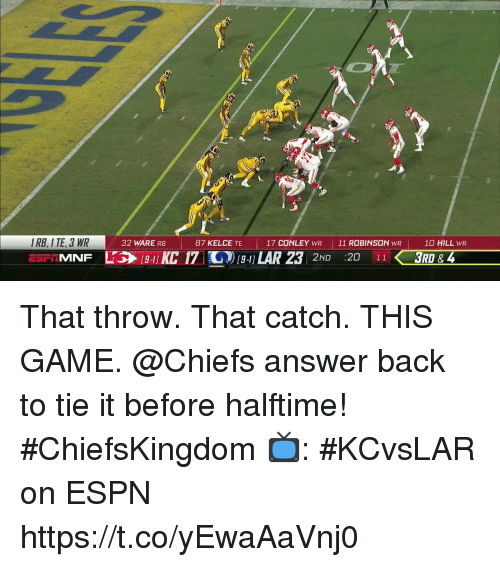 Espn, Memes, and Chiefs: I RB, I TE, 3 WR  MNF  32 WARE RB  87 KELCE TE  17 CONLEY WR 11 ROBINSON WR  10 HILL WR  KC 17 G19- LAR 23  2ND 20 11 3RD That throw. That catch. THIS GAME.  @Chiefs answer back to tie it before halftime! #ChiefsKingdom  📺: #KCvsLAR on ESPN https://t.co/yEwaAaVnj0