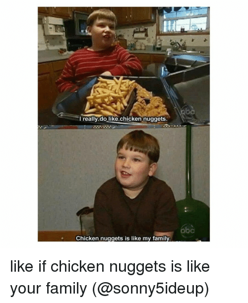 Family, Memes, and Chicken: I really do like chicken nuggets  Chicken nuggets is like my family like if chicken nuggets is like your family (@sonny5ideup)