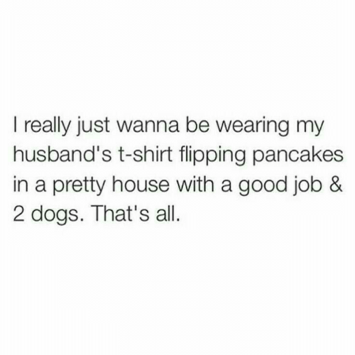 Dogs, Good, and House: I really just wanna be wearing my  husband's t-shirt flipping pancakes  in a pretty house with a good job &  2 dogs. That's all.