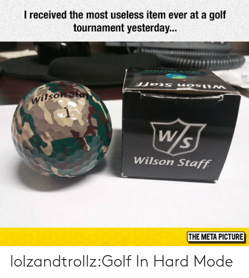 Tumblr, Blog, and Golf: I received the most useless item ever at a gof  tournament yesterday...  Wilso  Wilson Staff  THE META PICTURE lolzandtrollz:Golf In Hard Mode
