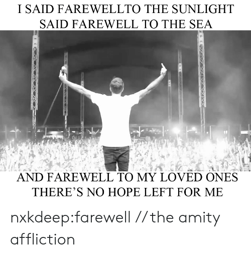 Tumblr, Blog, and Hope: I SAID FAREWELLTO THE SUNLIGHT  SAID FAREWELL TO THE SEA  AND FAREWELL TO MY LOVED ONES  THERE'S NO HOPE LEFT FOR ME nxkdeep:farewell // the amity affliction