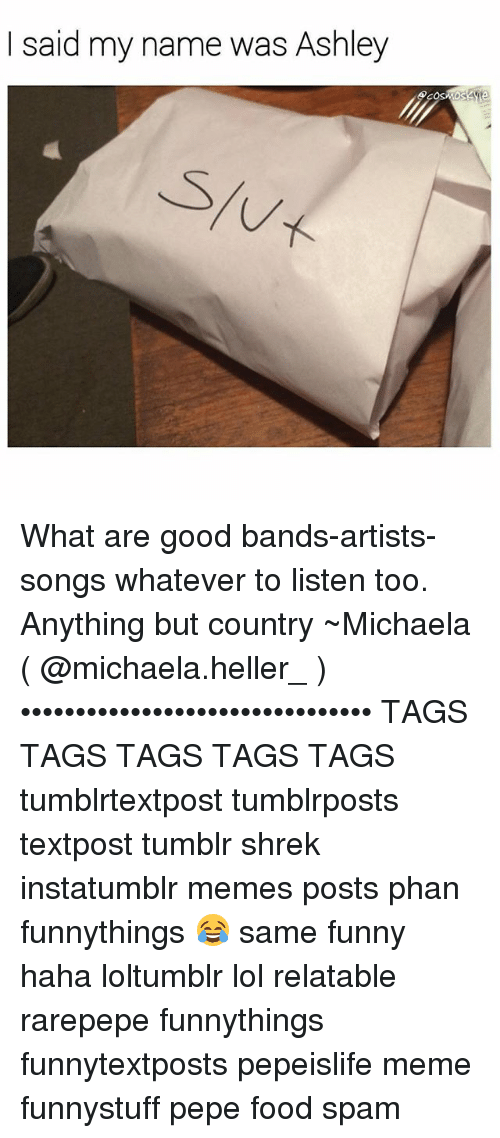 Food, Funny, and Lol: I said my name was Ashley What are good bands-artists-songs whatever to listen too. Anything but country ~Michaela ( @michaela.heller_ )•••••••••••••••••••••••••••••••• TAGS TAGS TAGS TAGS TAGS tumblrtextpost tumblrposts textpost tumblr shrek instatumblr memes posts phan funnythings 😂 same funny haha loltumblr lol relatable rarepepe funnythings funnytextposts pepeislife meme funnystuff pepe food spam