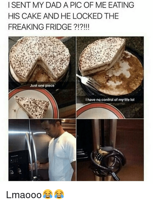 Memes, 🤖, and Pics: I SENT MY DAD A PIC OF ME EATING  HIS CAKE AND HE LOCKEDTHE  FREAKING FRIDGE  Just one piece  I have no control of my life lol Lmaooo😂😂