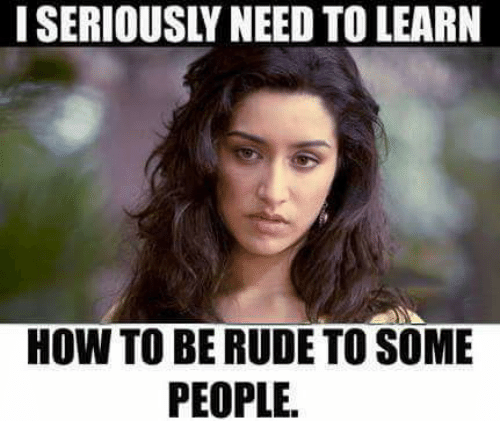 Memes, Rude, and How To: I SERIOUSLY NEED TO LEARN  HOW TO BE RUDE TO SOME  PEOPLE.