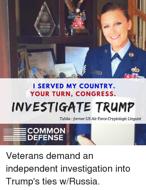 I SERVED MY COUNTRY YOUR TURN CONGRESS INVESTIGATE TRUMP