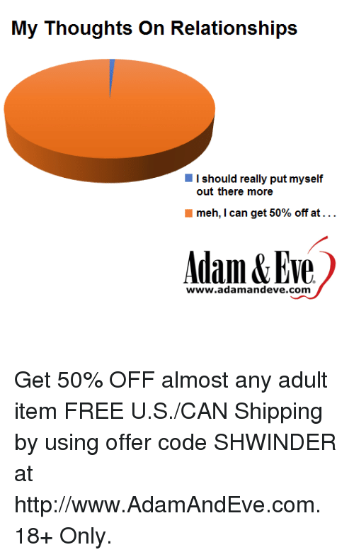 Meh, Free, and Http: I should really put myself  out there more  meh, I can get 50% off at . . .  Adam&Eve  www.adamandeve.com Get 50% OFF almost any adult item  FREE U.S./CAN Shipping by using offer code SHWINDER at http://www.AdamAndEve.com.  18+ Only.