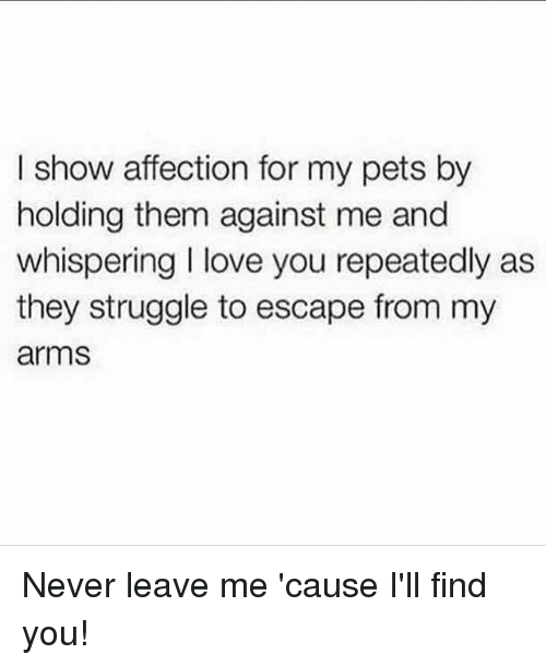 Love, Struggle, and I Love You: I show affection for my pets by  holding them against me and  whispering I love you repeatedly as  they struggle to escape from my  arms Never leave me 'cause I'll find you!
