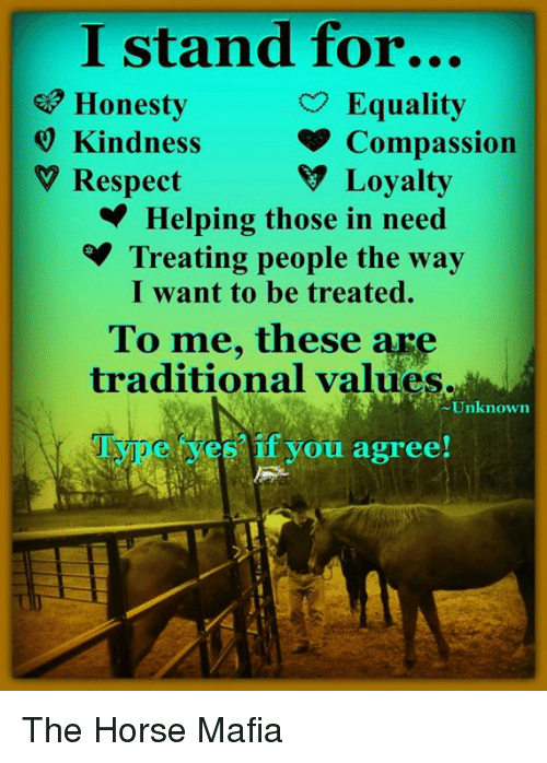 Memes, Respect, and Horse: I stand for...  e Honesty  9 Kindness  V Respect  Equality  Compassion  V Loyalty  Helping those in need  Treating people the way  I want to be treated.  To me, these are  traditional values.  Unknown  if you agree! The Horse Mafia