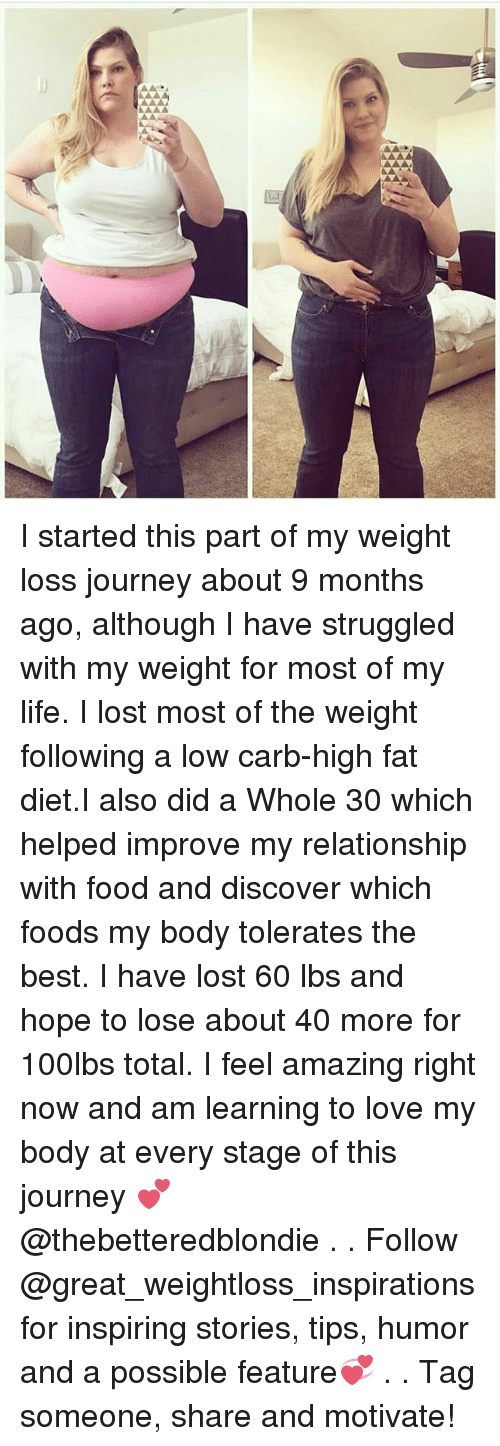 Food, Journey, and Life: I started this part of my weight loss journey about 9 months ago, although I have struggled with my weight for most of my life. I lost most of the weight following a low carb-high fat diet.I also did a Whole 30 which helped improve my relationship with food and discover which foods my body tolerates the best. I have lost 60 lbs and hope to lose about 40 more for 100lbs total. I feel amazing right now and am learning to love my body at every stage of this journey 💕 @thebetteredblondie . . Follow @great_weightloss_inspirations for inspiring stories, tips, humor and a possible feature💞 . . Tag someone, share and motivate!