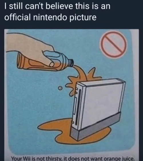 Juice, Nintendo, and Thirsty: I still can't believe this is an  official nintendo picture  Your Wii is not thirsty, it does not want orange juice.