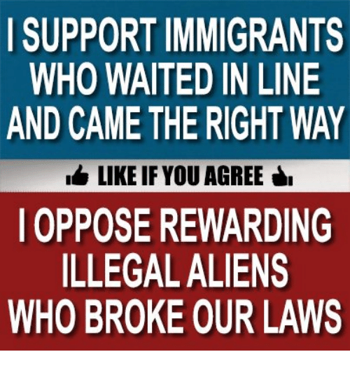 Memes, 🤖, and Who: I SUPPORT IMMIGRANTS  WHO WAITED IN LINE  AND CAME THE RIGHT WAY  LIKE IF YOU AGREE  OPPOSE REWARDING  ILLEGALALIENS  WHO BROKE OUR LAWS