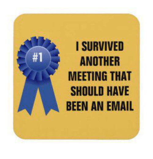 Email, Been, and Another: I SURVIVED  ANOTHER  MEETING THAT  SHOULD HAVE  BEEN AN EMAIL