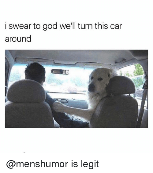 Funny, God, and Car: i swear to god we'll turn this car  around @menshumor is legit