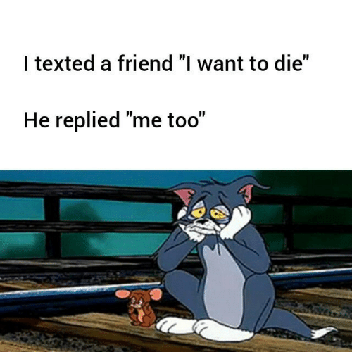 "Friend, Me Too, and Texted: I texted a friend ""l want to die""  He replied ""me too"""
