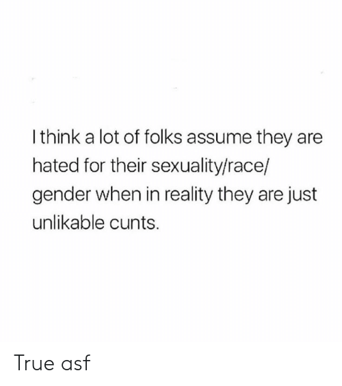 Memes, True, and Race: I think a lot of folks assume they are  hated for their sexuality/race/  gender when in reality they are just  unlikable cunts. True asf