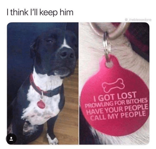 Lost, Got, and Him: I think I'lI keep him  @ theblessedone  I GOT LOST  PROWLING FOR BITCHES  HAVE YOUR PEOPLE  CALL MY PEOPLE