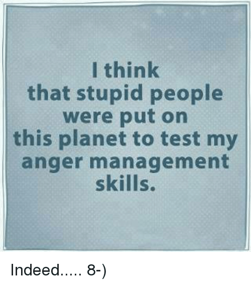 Memes, Anger Management, and 🤖: I think  that stupid people  were put on  this planet to test my  anger management  skills. Indeed.....  8-)