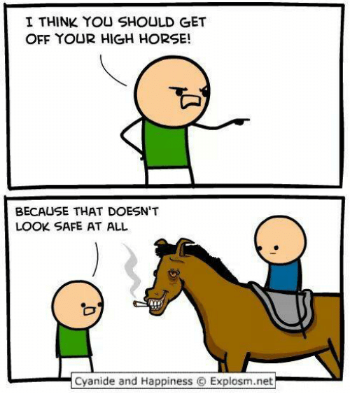 Horses, Memes, and Cyanide and Happiness: I THINK YOU SHOULD GET  OFF YOUR HIGH HORSE!  BECAUSE THAT DOESN'T  LOOK SAFE AT ALL  Cyanide and Happiness O Explosm.net