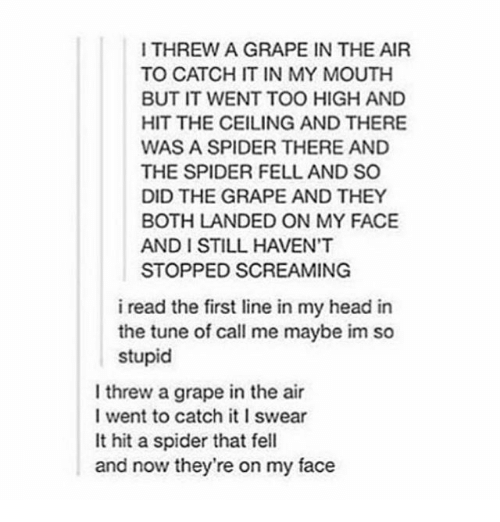 Call Me Maybe, Head, and Scream: I THREW A GRAPE IN THE AIR  TO CATCH IT IN MY MOUTH  BUT IT WENT TOO HIGH AND  HIT THE CEILING AND THERE  WAS A SPIDER THERE AND  THE SPIDER FELL AND SO  DID THE GRAPE AND THEY  BOTH LANDED ON MY FACE  STOPPED SCREAMING  i read the first line in my head in  the tune of call me maybe im so  stupid  l threw a grape in the air  I went to catch it l swear  It hit a spider that fell  and now they're on my face