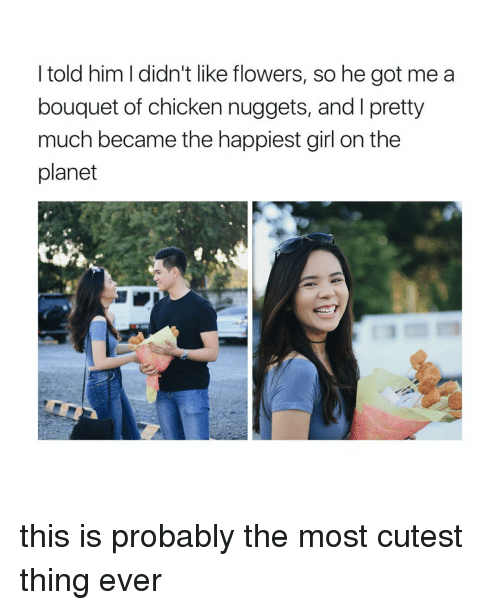 Girl Memes, Chicken Nuggets, and Chicken Nugget: I told him didn't like flowers, so he got me a  bouquet of chicken nuggets, and l pretty  much became the happiest girl on the  planet this is probably the most cutest thing ever