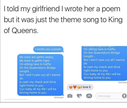 I Told My Girlfriend I Wrote Her a Poem but It Was Just the Theme