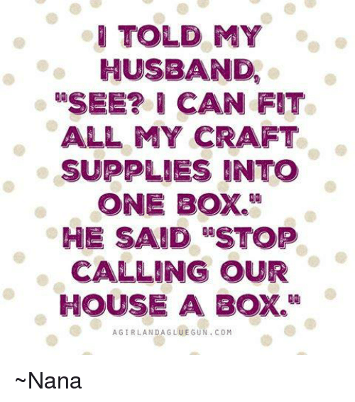 I Told My Husband Usee Can Fit All My Craft Supplies Into One Box