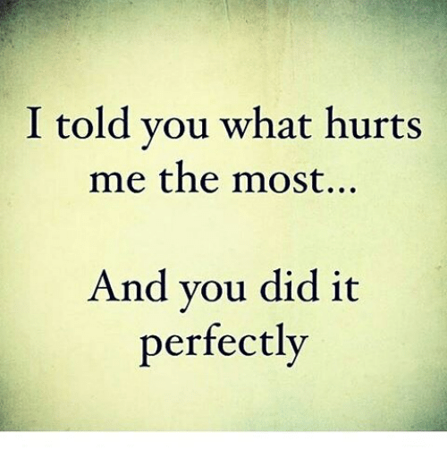 I Told You What Hurts Me The Most And You Did It Perfectly Meme On