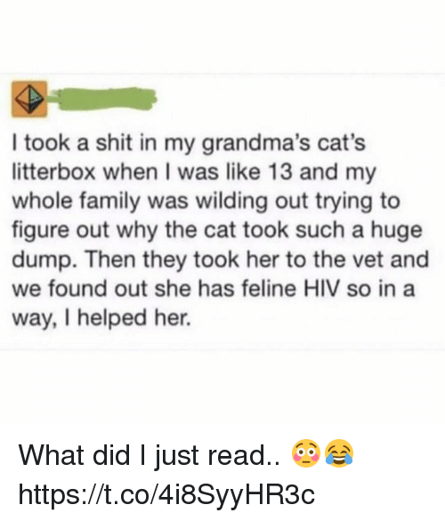 Cats, Family, and Shit: I took a shit in my grandma's cat's  litterbox when I was like 13 and my  whole family was wilding out trying to  figure out why the cat took such a huge  dump. Then they took her to the vet and  we found out she has feline HIV so in a  way, I helped her. What did I just read.. 😳😂 https://t.co/4i8SyyHR3c