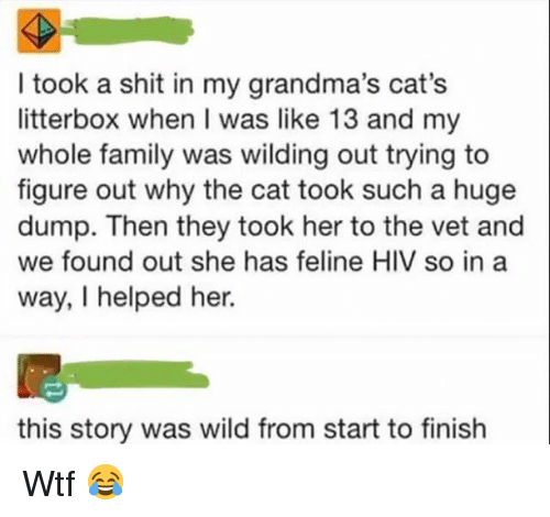 Cats, Family, and Memes: I took a shit in my grandma's cat's  litterbox when I was like 13 and my  whole family was wilding out trying to  figure out why the cat took such a huge  dump. Then they took her to the vet and  we found out she has feline HIV so in a  way, I helped her.  this story was wild from start to finish Wtf 😂