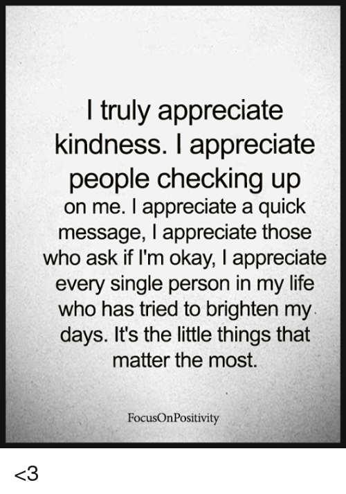 Life, Memes, and Appreciate: I truly appreciate  kindness. I appreciate  people checking up  on me. I appreciate a quick  message, I appreciate those  who ask if I'm okay, I appreciate  every single person in my life  who has tried to brighten my  days. It's the little things that  matter the most.  FocusOnPositivity <3