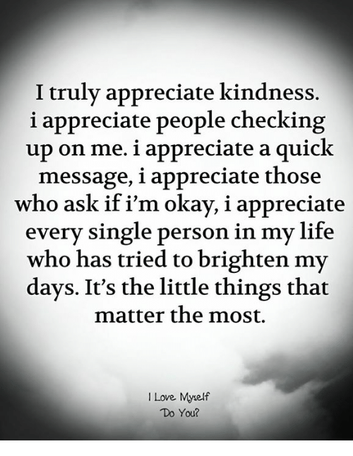 Life, Love, and Memes: I truly appreciate kindness.  i appreciate people checking  up on me. i appreciate a quick  message, i appreciate those  who ask if i'm okay, i appreciate  every single person in my life  who has tried to brighten my  days. It's the little things that  matter the most.  I Love Myself  Do You?