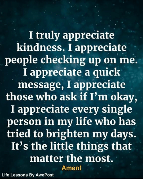 Life, Memes, and Appreciate: I truly appreciate  kindness. I appreciate  people checking up on me.  I appreciate a quick  message, I appreciate  those who ask if I'm okay  I appreciate every single  person in my life who has  tried to brighten my days.  It's the little things that  matter the most.  Amen!  Life Lessons By AwePost