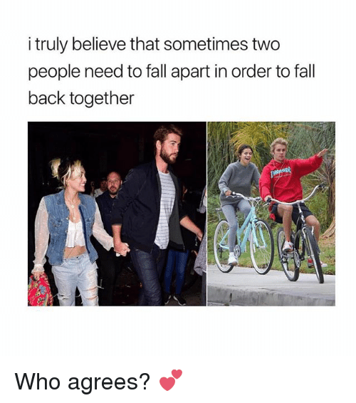 Fall, Memes, and Back: i truly believe that sometimes two  people need to fall apart in order to fall  back together Who agrees? 💕
